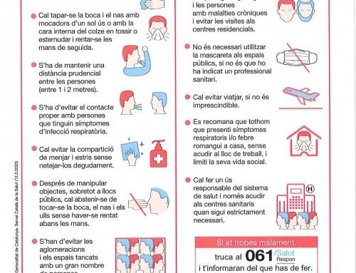 Mesures de prevenció per evitar propagació del coronavirus